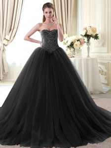 Floor Length Black 15 Quinceanera Dress Tulle Sleeveless Beading