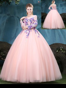 Fine Baby Pink Ball Gowns Tulle Scoop Long Sleeves Appliques Floor Length Lace Up Ball Gown Prom Dress