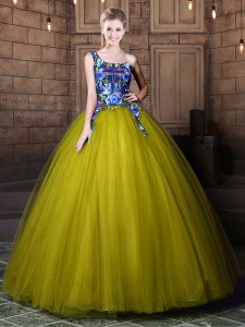 Olive Green One Shoulder Neckline Pattern Quinceanera Gowns Sleeveless Lace Up