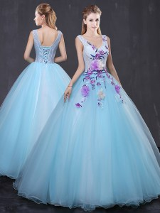 Lace and Appliques Vestidos de Quinceanera Light Blue Lace Up Sleeveless Floor Length