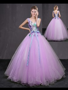 Ideal V-neck Sleeveless Lace Up 15th Birthday Dress Lilac Tulle