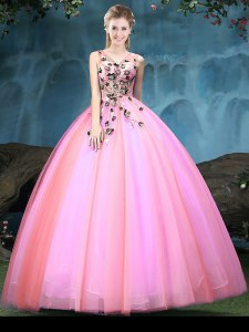 V-neck Sleeveless Lace Up 15 Quinceanera Dress Multi-color Tulle