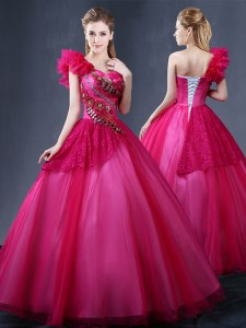 New Style One Shoulder Sleeveless Lace Up Vestidos de Quinceanera Fuchsia Tulle