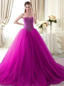 Sleeveless Tulle With Brush Train Lace Up Quinceanera Dress in Fuchsia with Beading