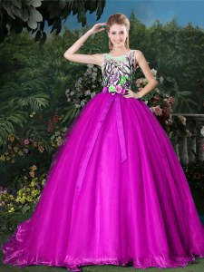 Scoop Sleeveless Quince Ball Gowns Brush Train Appliques and Belt Fuchsia Organza