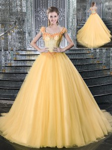 Graceful Tulle Straps Sleeveless Brush Train Lace Up Beading Sweet 16 Dress in Gold