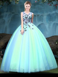High Class Multi-color Tulle Lace Up V-neck Sleeveless Floor Length Ball Gown Prom Dress Appliques
