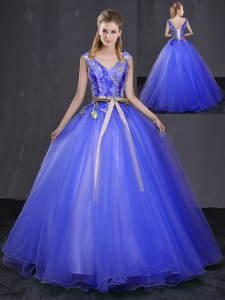 Sleeveless Tulle Floor Length Lace Up Quinceanera Dresses in Royal Blue with Appliques and Belt