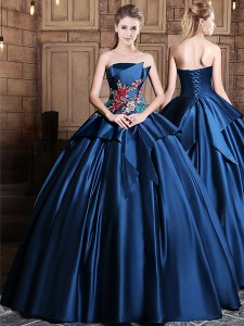 Amazing Navy Blue Ball Gowns Strapless Sleeveless Satin Floor Length Lace Up Appliques 15 Quinceanera Dress