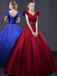 Satin Cap Sleeves Floor Length Ball Gown Prom Dress and Appliques
