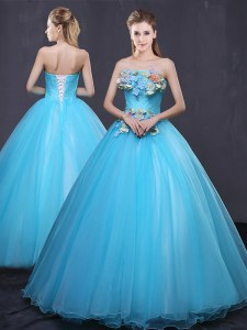 Custom Fit Floor Length Lace Up 15th Birthday Dress Baby Blue for Military Ball and Sweet 16 and Quinceanera with Appliques
