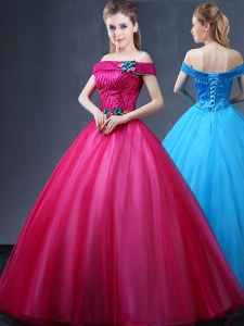 Fashionable Off the Shoulder Tulle Sleeveless Floor Length Quinceanera Gown and Beading and Appliques