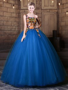 One Shoulder Sleeveless Lace Up Vestidos de Quinceanera Blue Tulle