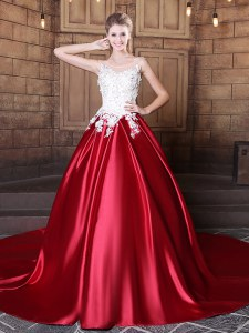 Fabulous Scoop Wine Red Sleeveless Lace and Appliques Floor Length Quinceanera Dress