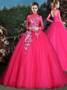 Cute Brush Train Ball Gowns Sweet 16 Dresses Coral Red High-neck Tulle Long Sleeves With Train Lace Up