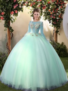 Apple Green Lace Up Scoop Appliques Quince Ball Gowns Tulle Long Sleeves