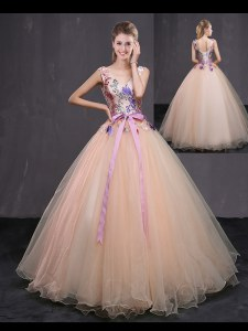 Vintage Peach Sleeveless Tulle Lace Up Sweet 16 Dresses for Military Ball and Sweet 16 and Quinceanera