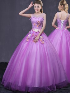 Perfect Scoop Lilac Sleeveless Beading and Appliques Floor Length Quinceanera Gowns