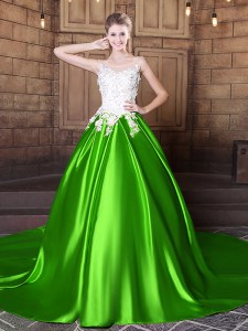 Scoop Sleeveless Lace Up Floor Length Appliques Quinceanera Dress