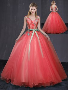 Deluxe Coral Red Ball Gowns V-neck Sleeveless Tulle Floor Length Lace Up Appliques and Belt Quinceanera Gowns