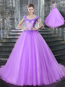 Luxurious Straps Sleeveless Brush Train Lace Up Quinceanera Dress Lilac Tulle
