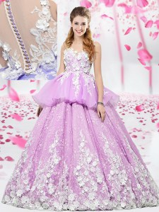 High Quality Lilac Ball Gowns Scoop Sleeveless Organza and Tulle Floor Length Lace Up Lace and Appliques Quinceanera Dresses