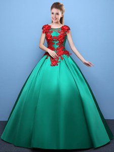 Inexpensive Green Ball Gowns Scoop Cap Sleeves Satin Floor Length Lace Up Appliques Vestidos de Quinceanera