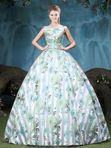 Straps Floor Length Multi-color Quince Ball Gowns Tulle Sleeveless Appliques and Pattern