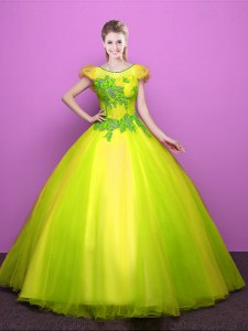 Nice Scoop Yellow Green Ball Gowns Appliques Quinceanera Dresses Lace Up Tulle Short Sleeves Floor Length