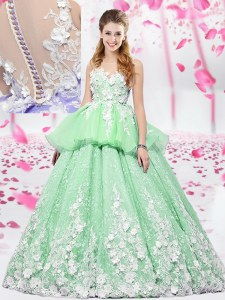 Fabulous Scoop Organza and Tulle Sleeveless Floor Length Sweet 16 Quinceanera Dress and Lace and Appliques