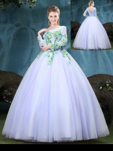 Scoop Tulle Long Sleeves Floor Length Quinceanera Dress and Appliques