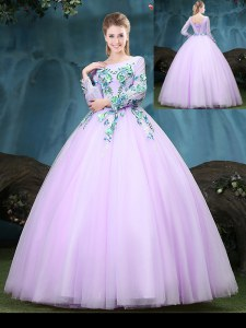 Tulle Scoop Long Sleeves Lace Up Appliques Quinceanera Dress in Lilac
