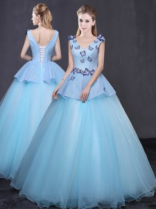 Light Blue Sleeveless Floor Length Appliques Lace Up Quinceanera Dresses