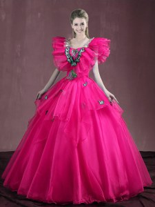 Dazzling Appliques and Ruffles Quince Ball Gowns Hot Pink Lace Up Sleeveless Floor Length