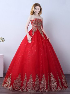 Traditional Sequins Red Sleeveless Tulle Lace Up Quinceanera Dresses for Military Ball and Sweet 16 and Quinceanera