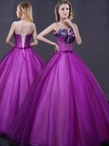 Beauteous Scoop Purple Sleeveless Floor Length Beading and Appliques Lace Up Sweet 16 Quinceanera Dress