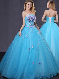Baby Blue Lace Up Quinceanera Dress Appliques Sleeveless Floor Length