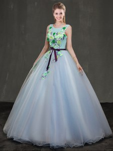 Lovely Scoop Organza Sleeveless Floor Length 15 Quinceanera Dress and Appliques