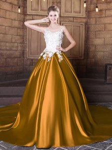 Traditional Scoop Gold Elastic Woven Satin Lace Up Sweet 16 Dresses Sleeveless Floor Length Court Train Lace and Appliques