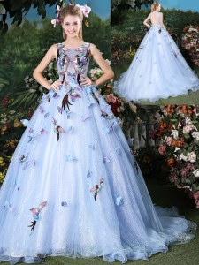 Ideal Scoop Light Blue Sleeveless Brush Train Appliques Floor Length Quinceanera Gown