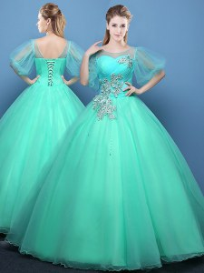 High Quality Scoop Turquoise Lace Up Quinceanera Gown Appliques Half Sleeves Floor Length