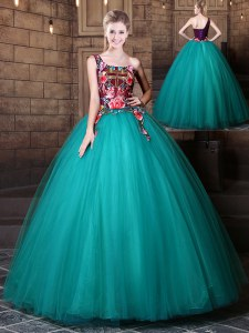 Wonderful Teal Ball Gowns One Shoulder Sleeveless Tulle Floor Length Lace Up Pattern Quinceanera Dresses