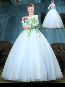 Scoop Appliques Quince Ball Gowns Light Blue Lace Up Long Sleeves Floor Length