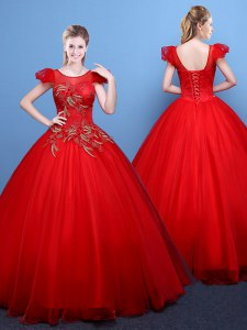 Scoop Red Ball Gowns Appliques Sweet 16 Dresses Lace Up Tulle Short Sleeves Floor Length