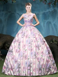 Smart Straps Floor Length Ball Gowns Sleeveless Multi-color Sweet 16 Dresses Lace Up
