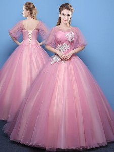 Beautiful Scoop Floor Length Ball Gowns Half Sleeves Pink Quince Ball Gowns Lace Up