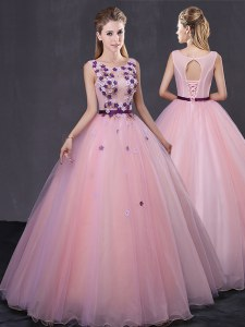 Tulle Scoop Sleeveless Lace Up Appliques 15 Quinceanera Dress in Baby Pink