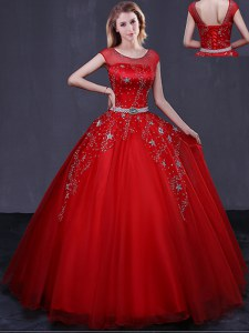 Scoop Cap Sleeves Beading and Belt Lace Up Quince Ball Gowns