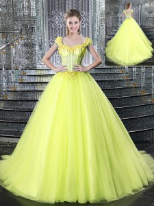 Noble Straps Sleeveless Brush Train Lace Up Sweet 16 Quinceanera Dress Yellow Tulle
