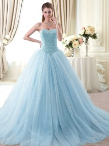 Admirable Light Blue 15 Quinceanera Dress Military Ball and Sweet 16 and Quinceanera and For with Beading Sweetheart Sleeveless Lace Up
